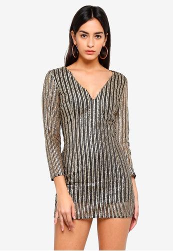 e4e4f0d6b4ff MISSGUIDED gold Petite Gold Plunge Neck Dress 18699AAFD26921GS 1