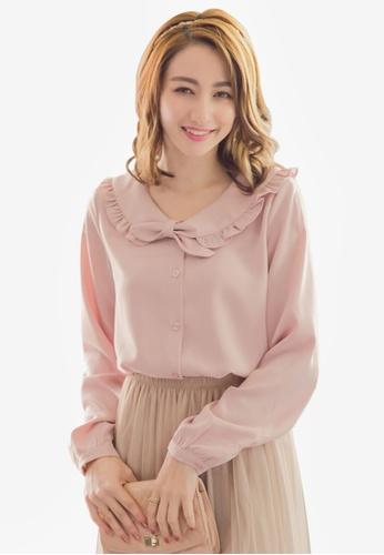 YOCO pink Peter Pan Ruffled Blouse FD14CAA4671593GS_1