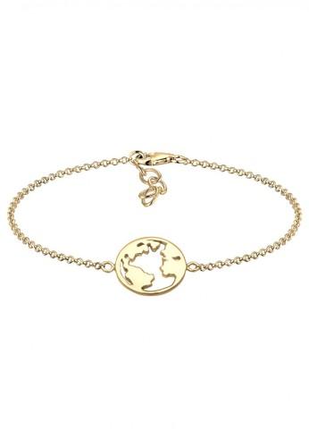 Elli Germany gold Perhiasan Wanita Perak Asli - Silver Gelang Globe Gold Plated EL948AC69YVIID_1