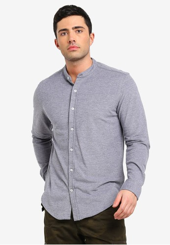 Brave Soul grey Mandarin Collar Shirt 39232AA3F788F7GS_1