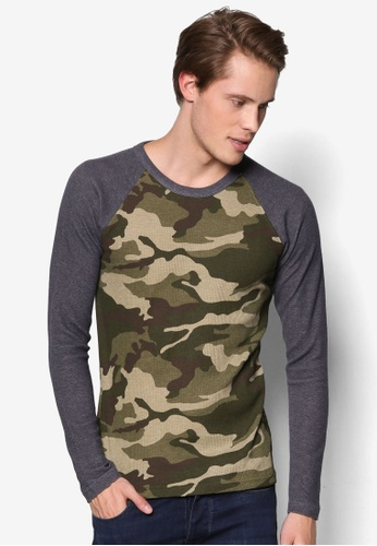 UniqTee green Green Army Textured Long Sleeve Tee UN097AA11UTSMY_1