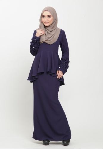 Natasya Kurung Peplum Pearl from Colours Thread Clothing in Navy