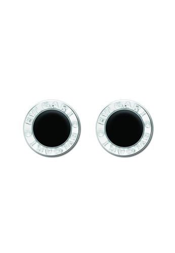 SC Tom Silver silver Bvlgari Circle with black plate Stud Earring- ES293-L 8MM SC872AC25TCOPH_1