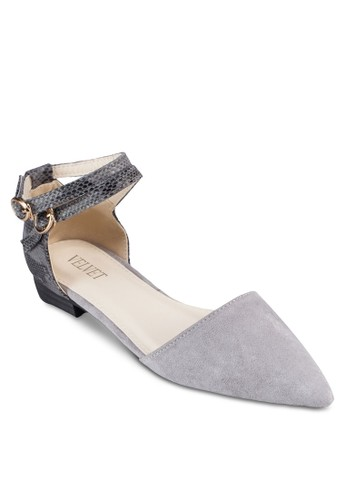 Marzalora 台灣門市ia 蛇紋繞踝側空平底鞋, 女鞋, 鞋