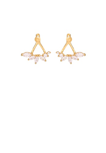 Glamorousky white 925 Sterling Silver Plated Gold Simple Personality Geometric Stud Earrings with Cubic Zirconia 3EC6AAC2099905GS_1