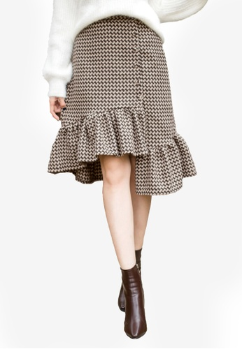 Tokichoi brown Frill Gingham Skirt 64E92AA7FC0E64GS_1