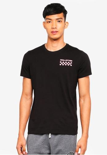 Hollister black Checkerboard Wash T-Shirt B468AAA490E7E8GS_1