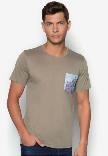 CN - Washed Slub Tee With Printed Pocket