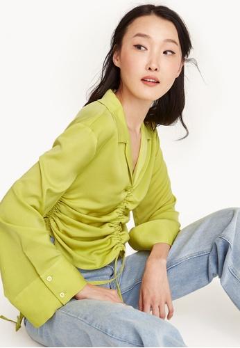 Pomelo yellow Drawstring Long Sleeve Shirt B7647AA2E61351GS_1