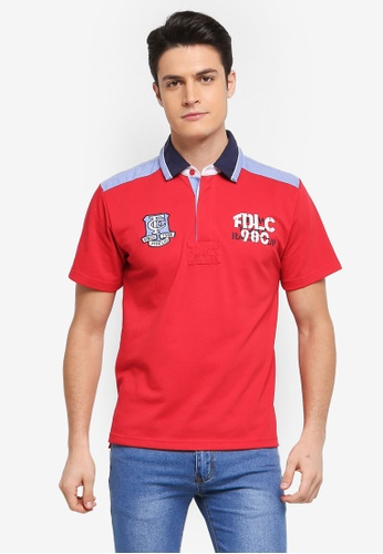 Fidelio red Embroidery and Patches Casual Polo Shirt 4DEF9AA76065F6GS_1