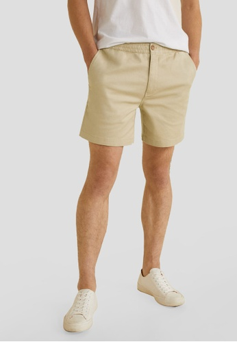 Mango Man 米褐色 Elastic Waist Cotton Bermuda Shorts CE3D1AADE388BAGS_1