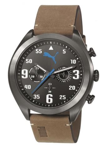 PUMA brown Puma Fame Chronograph Gunmetal/Brown Leather Watch PU440AC75CWASG_1