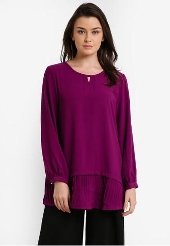 TOPGIRL purple Pleated Bottom Blouse TO597AA48FTFMY_1