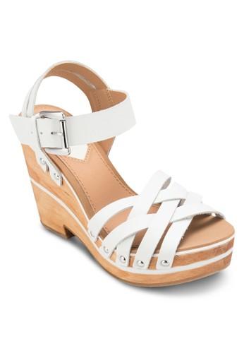 Bilbazalora 台灣 交叉帶木製楔形鞋, 女鞋, 楔形涼鞋
