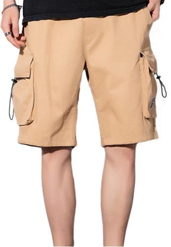 Sunnydaysweety beige Casual Loose Thin Solid Color Cargo Shorts A21070503KI 87B64AA7CEFC3EGS_1