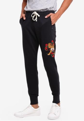 Hollister black Super Skinny Embroidery Sweatpants B3C3BAA062F3C1GS_1
