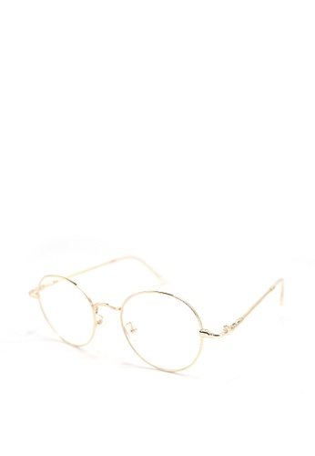 Peculiar and Odd gold Round Eyeglasses 9007 Anti-radiation Replaceable Lenses 92615GL3606A53GS_1