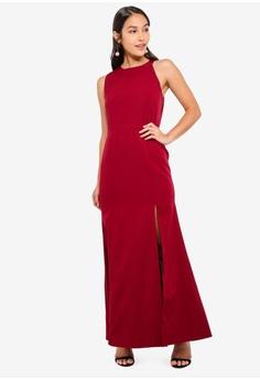 ef0c930c729f5 Preen & Proper red Slitcut Maxi Dress 8F43EAAEED322FGS_1