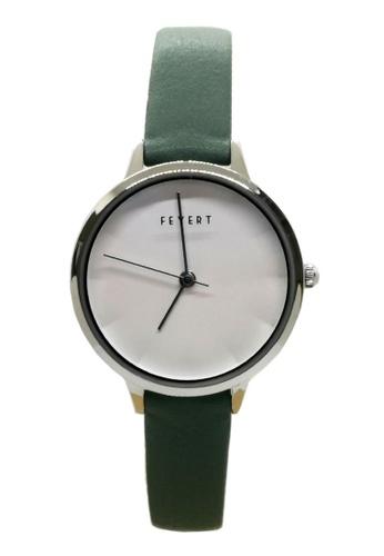Chronomart green Women's Embossed 3D Dial Steel Case Leather Strap Wrist Watch FE-0013 C9345AC6E5EFF3GS_1