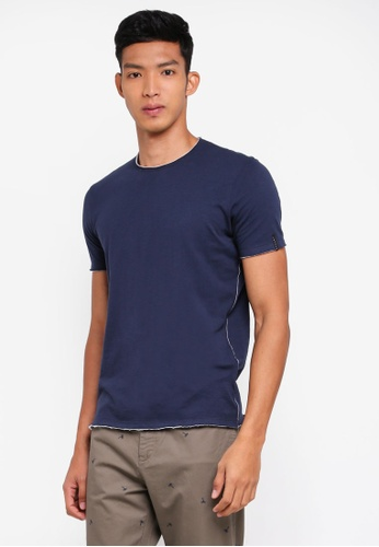 Sisley 藍色 素面不收邊短袖T恤 DFBA8AAA576FF7GS_1