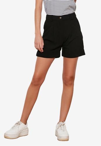 Trendyol black Basic Linen Shorts 362B9AAB815508GS_1