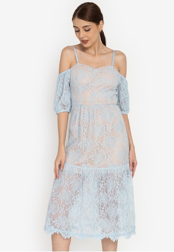 ZALORA OCCASION blue Cold-Shoulder Corded Lace Midi Dress 4579BAAEE7529AGS_1