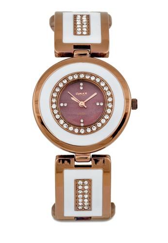 OAB0045BRWesprit 台中/WHT 水鑽圓框金屬錶, 錶類, 不銹鋼錶帶
