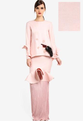 Rico Rinaldi for Zalora pink Raisha Modern Kurung RI533AA65DWOMY_1