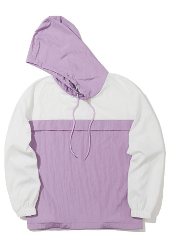 Fivecm purple Panelled loose hoodie A4F07AA6D85433GS_1