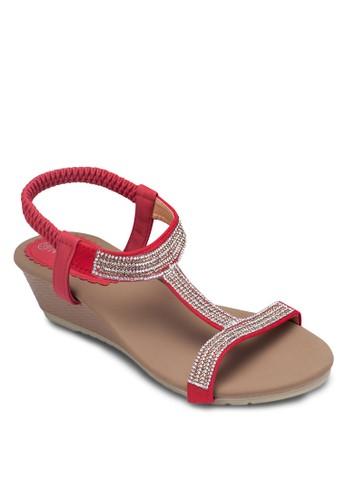 閃飾T 字zalora 順豐帶楔型跟涼鞋, 女鞋, 楔形涼鞋