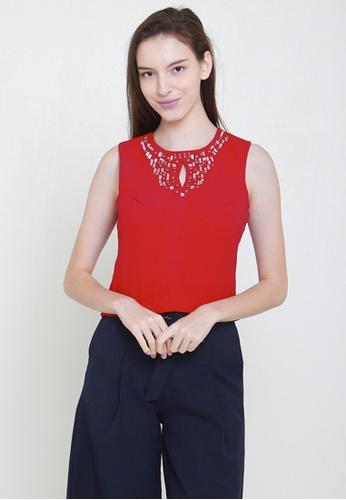 Leline Style red Gems Crop Top 5475EAA6B1F74DGS_1