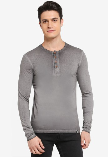 Indicode Jeans grey Johannes Long Sleeve Washed Grandad T-Shirt 0ED95AA9607593GS_1