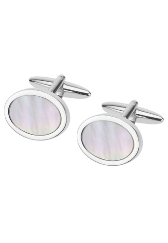 CUFF IT white Mother of Pearl Oval Cufflinks CU047AC91BFOHK_1