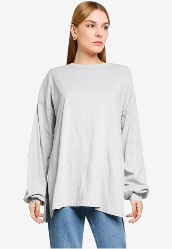 LOWRYS FARM grey Oversized Slit Sweatshirt 92E55AA4B42A32GS_1