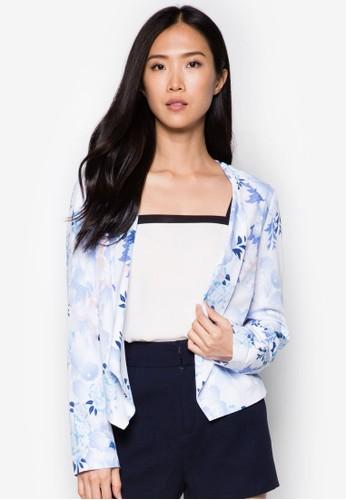 花卉開襟長袖外zalora 順豐套, 服飾, 夾克 & 大衣