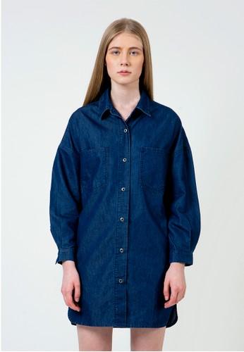 COLORBOX blue Oversized Denim Shirt dress CE56BAA976E515GS_1