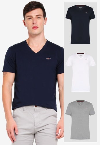 d0647261 Shop Hollister Core Icon Multipack Crew T-Shirt Online on ZALORA ...