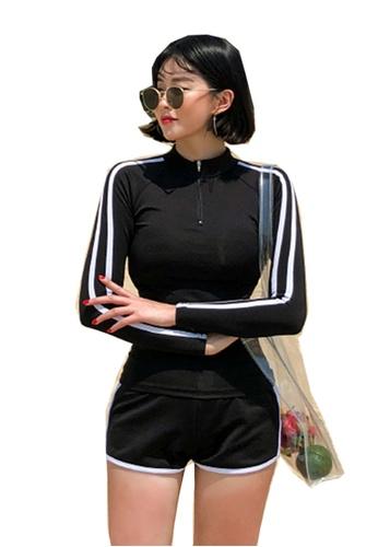 ZITIQUE black 3-Pieces Long Sleeves Zipper Swimsuit - Black 214AFUSAC765CFGS_1