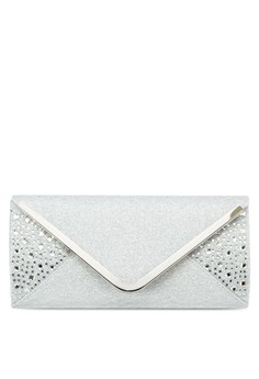UNISA V-Metal Dinner Clutch with Glittering Stones & Crystal Embellishment