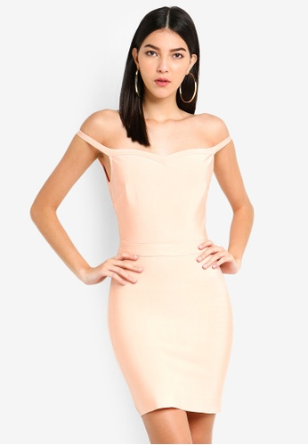 MISSGUIDED pink Off Shoulder Ruffle Bandage Dress 4D32EAA66F1C11GS_1