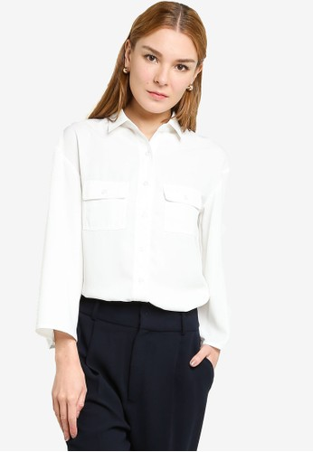 Origin by Zalora white 100% Recycled Polyester Relaxed Pocket Shirt AE0BAAA8C7412EGS_1