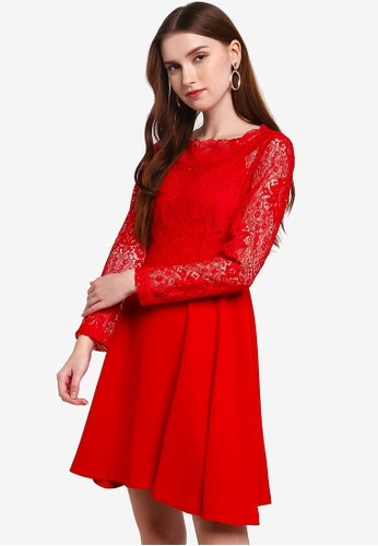 Hopeshow red Lace Midi Dress 26A4AAA5476276GS_1