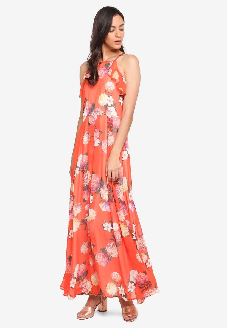Perkins Orange Maxi Dress Floral Ruffle Dorothy Orange w4YqAXxE