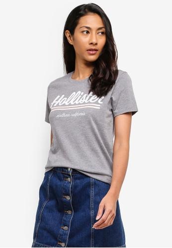 Hollister grey Short Sleeve Cotton Script Tech Core T-Shirt 17335AAA623081GS_1