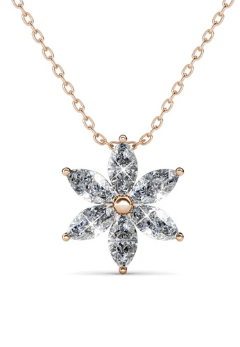 Her Jewellery gold Petal Flower Pendant (Rose Gold) - Made with premium grade crystals from Austria B4446ACD2446CEGS_1