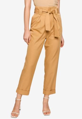 ZALORA WORK brown Self Tie Long Pants E0F46AA7A19DC0GS_1