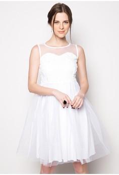 Agnes Sequin Mesh Panel Midi Dress