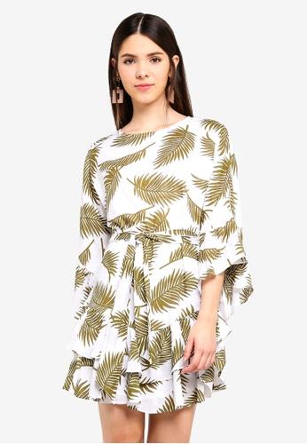 INDIKAH white Fluted Ruffle Sleeve Dress With Sash 5ECDFAA9F6295DGS_1