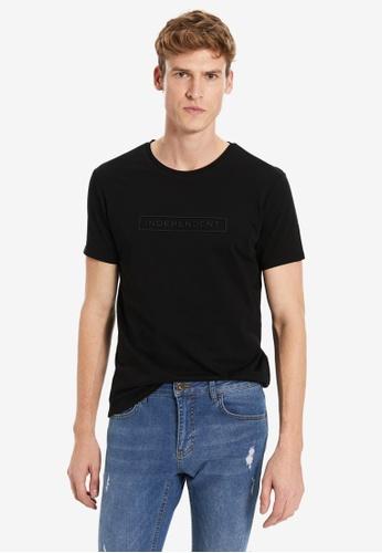 LC Waikiki black Crew Neck Printed Combed Cotton T-Shirt E16CAAA973F406GS_1