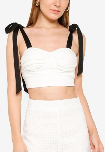 ZALORA OCCASION 白色 Tie Shoulder Sweetheart Neckline Top 93E35AAAE974BCGS_1